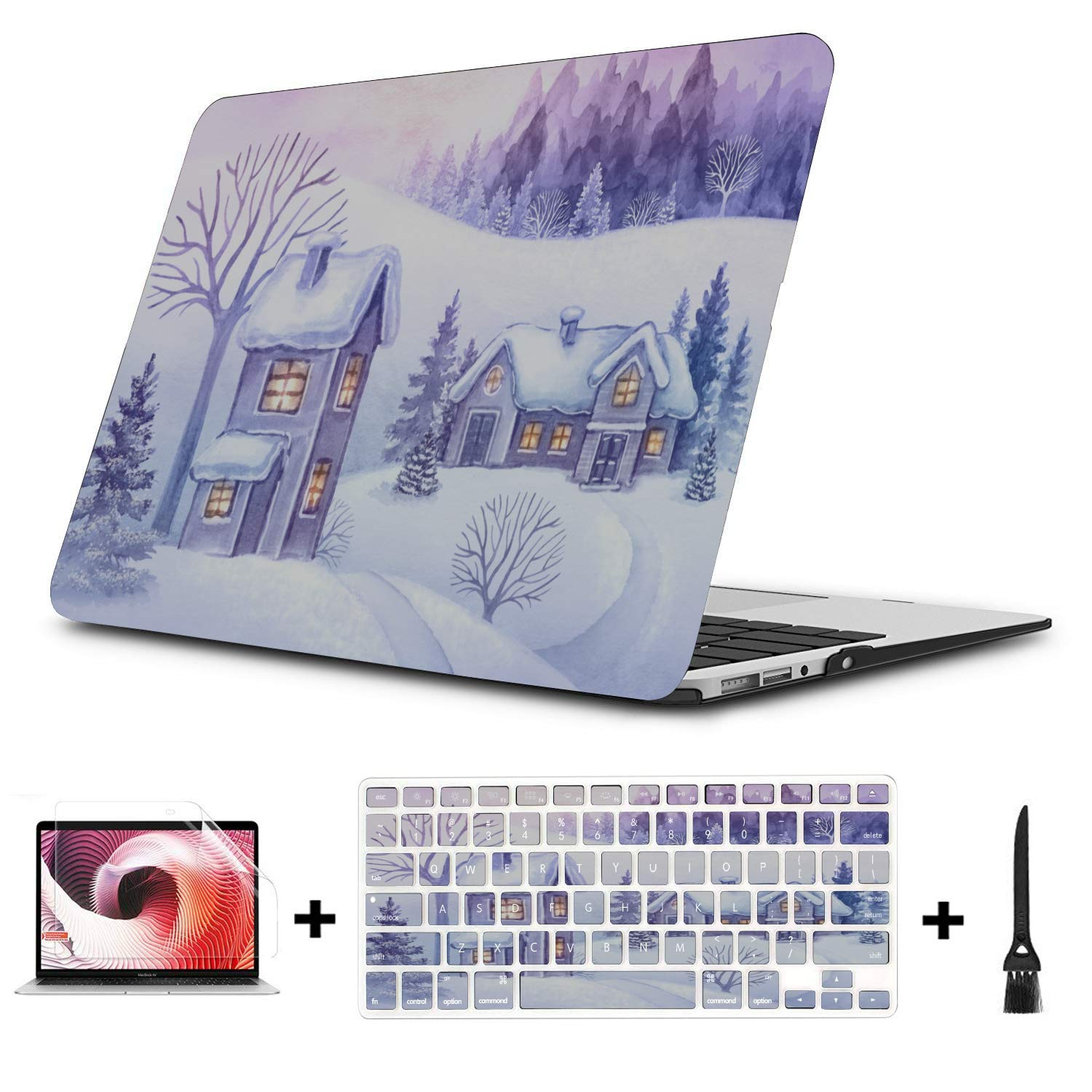 MacBook Pro 13 Cover Snow Forest Night Countryside House Plastic Hard Shell Compatible Mac Air 11 Pro 13 15 MacBook Air A1466 Case Protection for MacBook 2016-2019 Version
