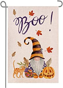 Welcome Fall Halloween Boo Gnome Pumpkins Cat Maple Leaves Double Sided Burlap Garden Flags, Seasonal Porch Patio Farmhouse Yard Outdoor Decorative 12 x 18 Inch
