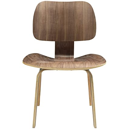 Modway Fathom Mid Century Modern Molded Plywood Dining Chair In Walnut