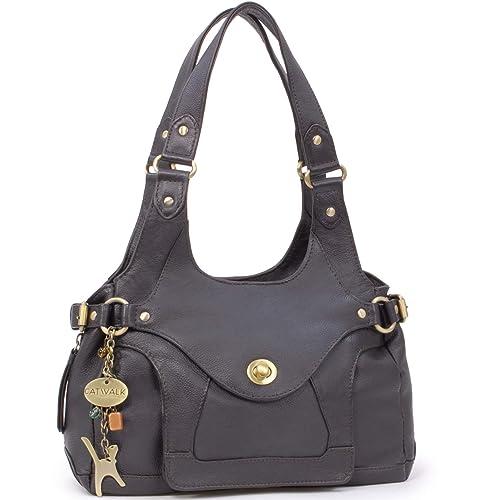 e8e85f2977553 Catwalk Collection Handbags - Leder - Umhängetasche Schultertasche -  ROXANNA - Braun