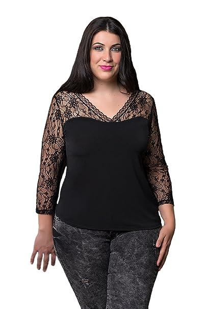 CARISAL FASHION, camiseta negra de manga larga encaje, moda curvy (54)