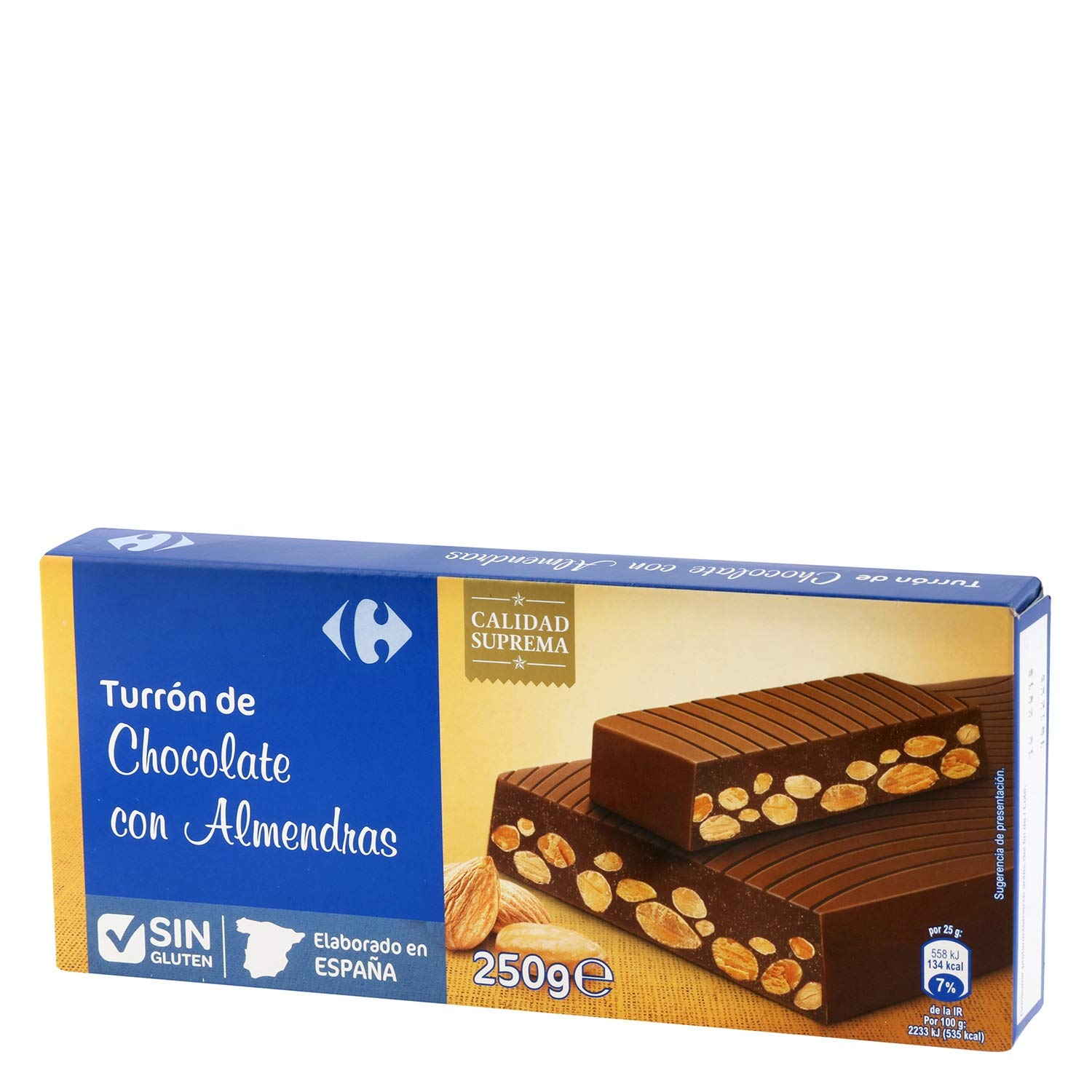 Amazon.com : 4 Pack Carrefour Milk Chocolate with Almonds Spanish Nougat 250g - Made In Spain - Supreme Quality - Sweet Chocolate with Almonds & Hazelnuts ...