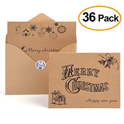 Amazon kuuqa 36 pieces merry christmas cards greeting notes kuuqa 36 pieces merry christmas cards greeting notes cards with 36 envelopes and 36 stickers m4hsunfo