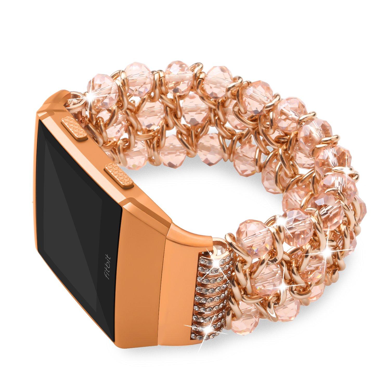 egenplus for Fitbit Ionicバンド、ラインストーンブレスレットレディースメンズ、交換用ストラップフィットネスの手首バンドfor Fitbit Ionicスマートウォッチアクセサリー、複数の色 B07BS6721K Style C: Pink 5.5\