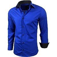 Subliminal Mode - Planchado fácil para hombre, cuello de bicolor, manga larga, corte delgado, negocios, ideal para…