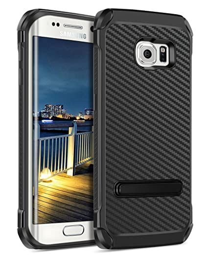 on sale 6e80a 41ee7 Galaxy S6 Edge Case,BENTOBEN Slim Shockproof Heavy Duty Rugged 2 in 1  Hybrid Hard PC Cover Soft TPU Bumper Carbon Fiber Texture Protective Phone  Case ...