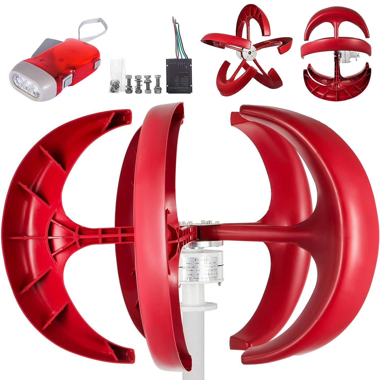 Moracle Turbina de Viento 600W 12V Linterna Aerogeneradores Generadores 5 Palas Linterna Vertical Estilo Color Rojo Eje Barco Jardín