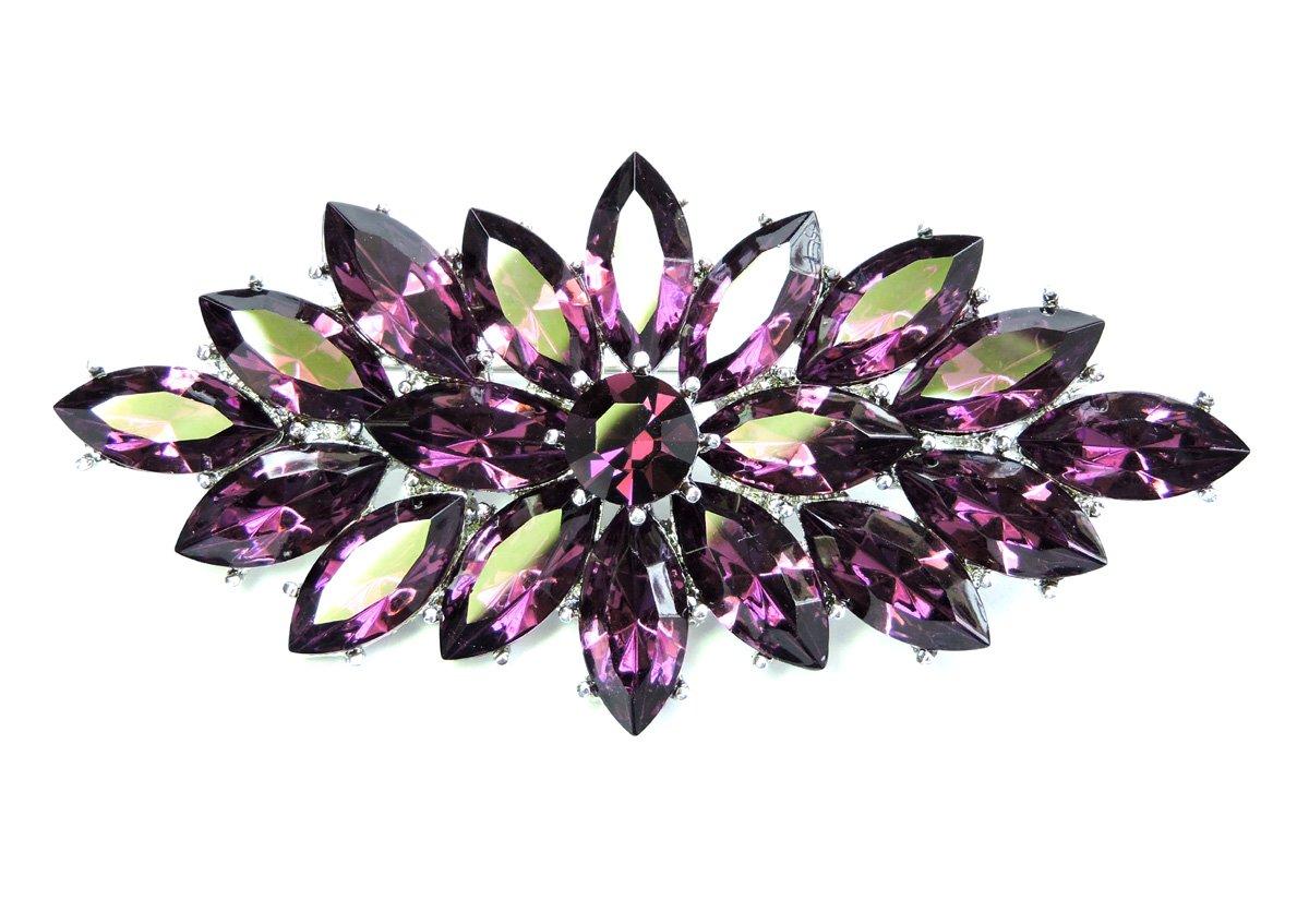 Faship Marquise Big Pin Brooch Vintage Style Purple