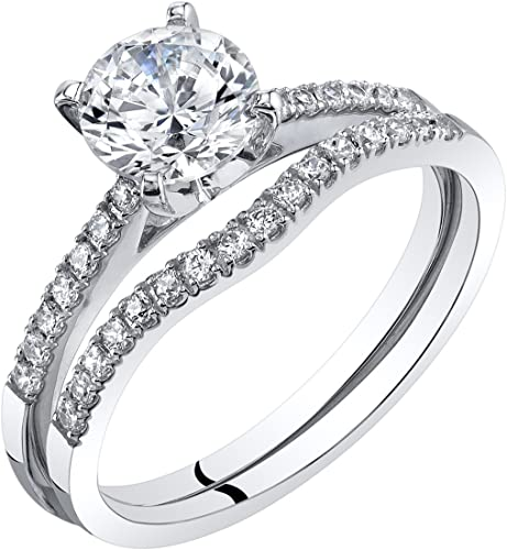 18K White Gold Plated Simulated Diamond 4.0 Carat Twisted Band Engagement Ring