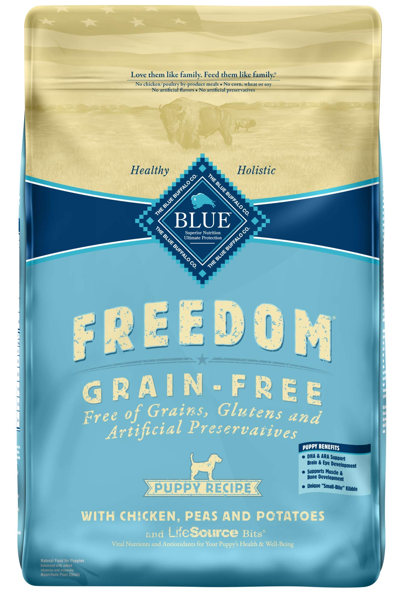 Blue Buffalo Freedom Grain Free Natural Puppy Dry Dog Food, Chicken 24-lb