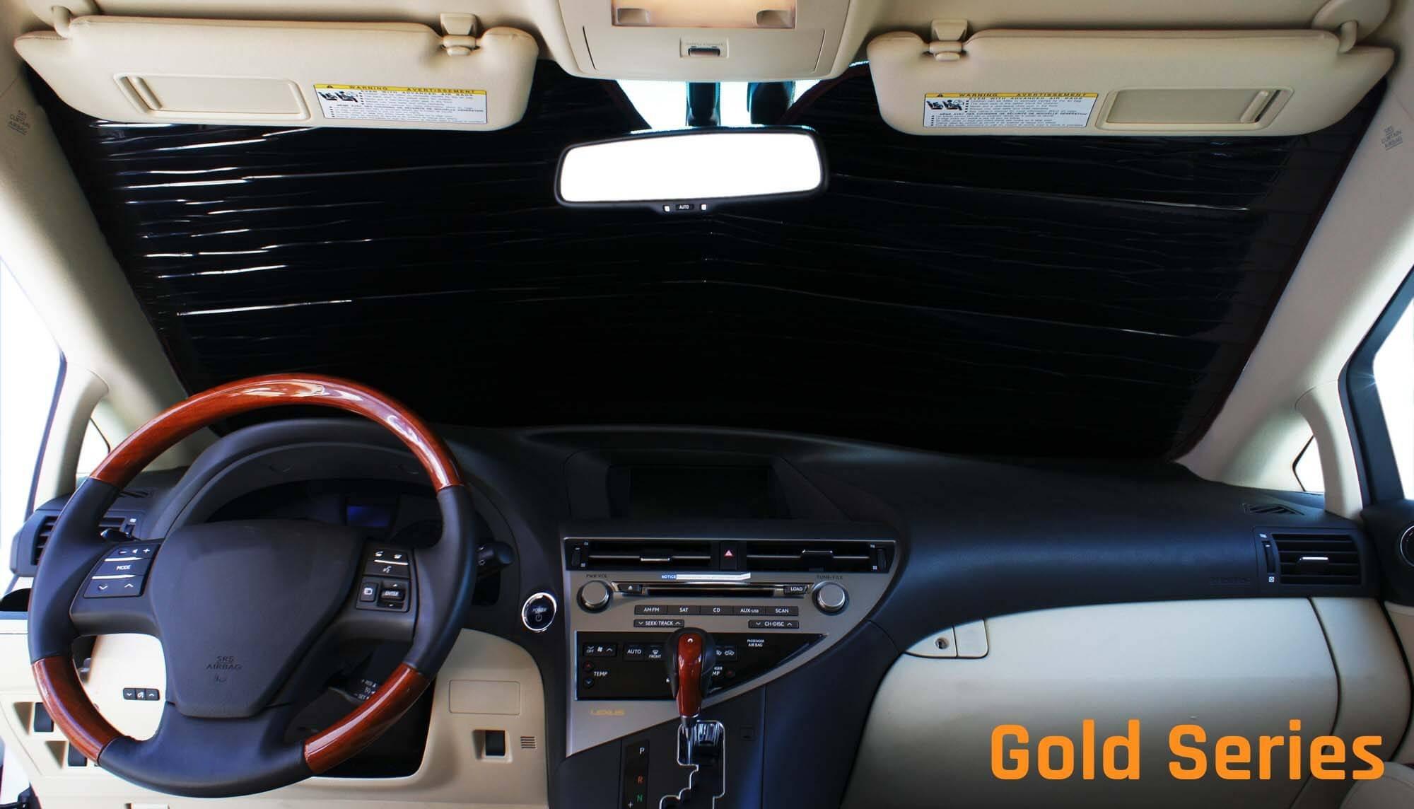 HeatShield The Original Auto Sunshade, Custom-Fit for Tesla 3 Sedan 2018, Gold Series