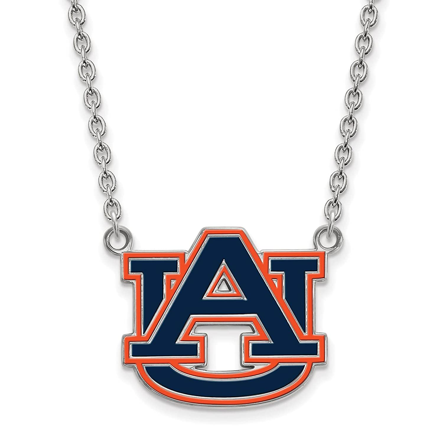 925 Sterling Silver Rhodium-plated Laser-cut Auburn University Large Enameled Pendant w//Necklace 18
