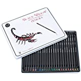 HOLIDAY DEALS Black Widow Colored Pencils for Adults, the Best Color Pencil Set for Adult Coloring Books, A Quality 24 Piece Blackwood Drawing Kit Available to Use. Scorpion Edition