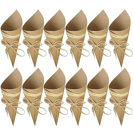 WopenJucy 50 Piezas Conos de Arroz para Boda, Bolso boda para confeti o bolsa cucuruchos de papel kraft cono de arroz, cuerda de cáñamo, cinta de ...