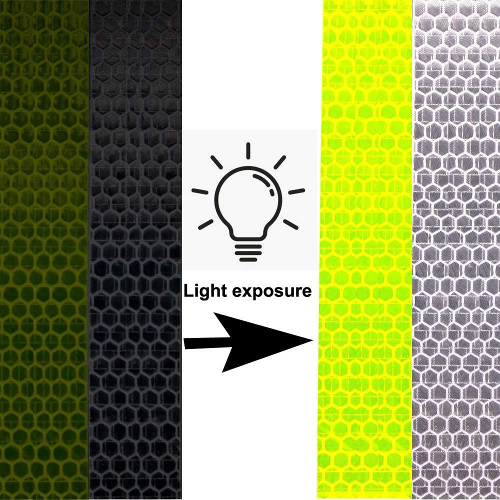 Jaune, Blanc 4 pi/èces 5cm /× 3m Ruban R/éfl/échissant Ruban Imperm/éable Gebildet Reflective Tape Adh/ésif de R/éflecteur S/écurit/é Avertissement Visibilit/é