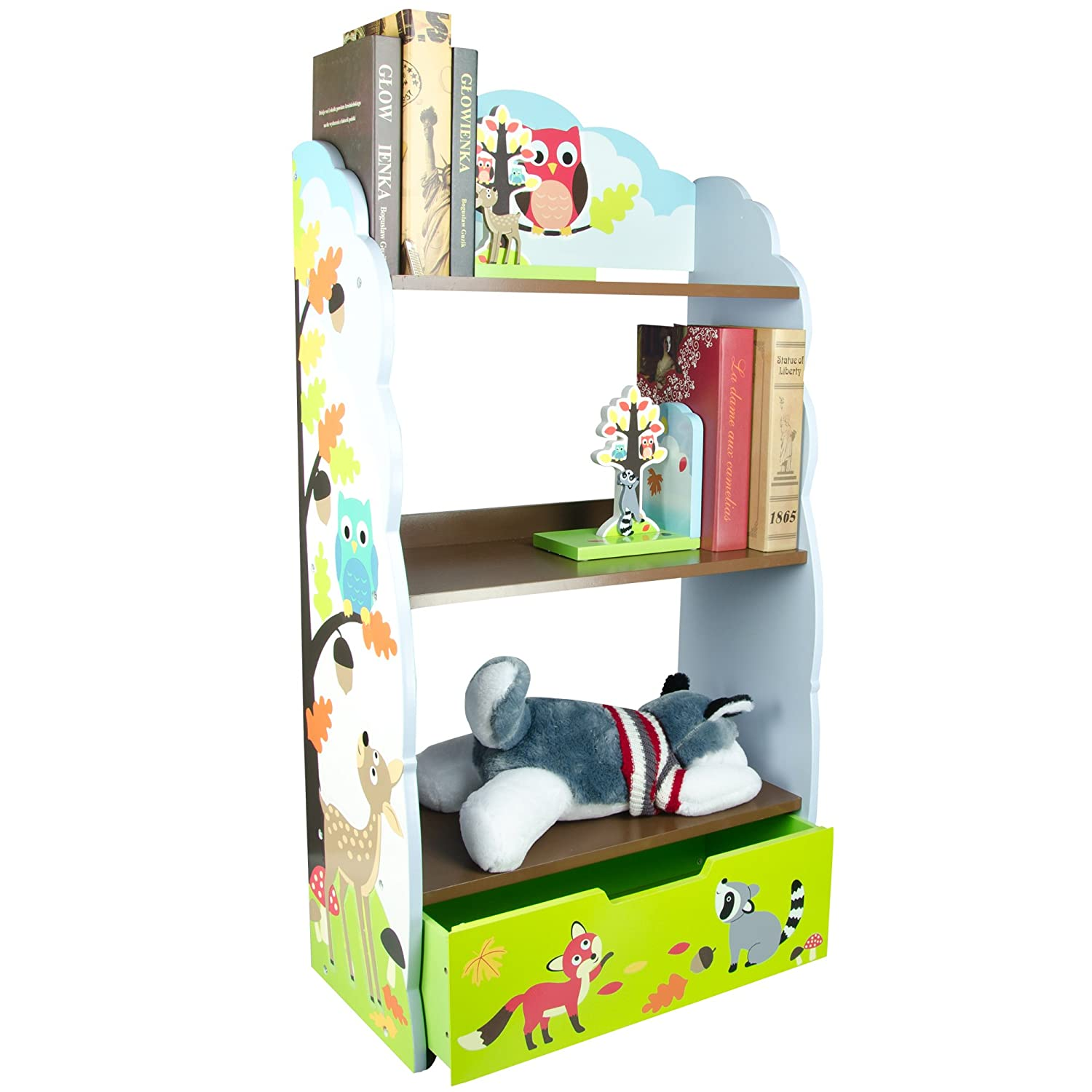 Imagination Inspiring Hand Crafted /& Hand Painted Details Fantasy Fields Non-Toxic Lead Free Water-Based Paint Enchanted Woodland Thematic Kids Wooden Bookcase with Storage