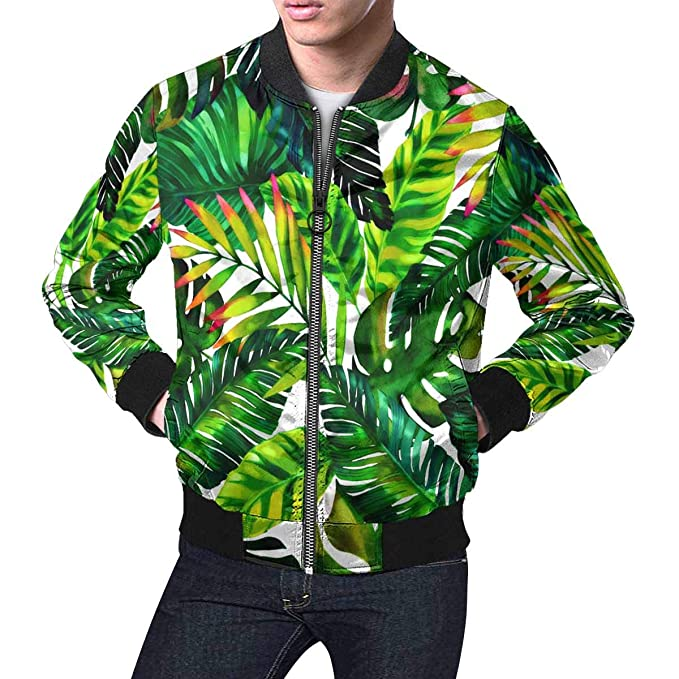 Amazon.com: InterestPrint Tropical Leaves - Chaqueta ...