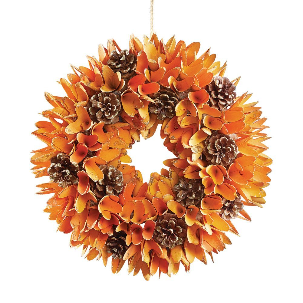 Collections Etc Wooden Autumn Wreath Indoor and Outdoor Fall Décor, Real Wood and Pinecones