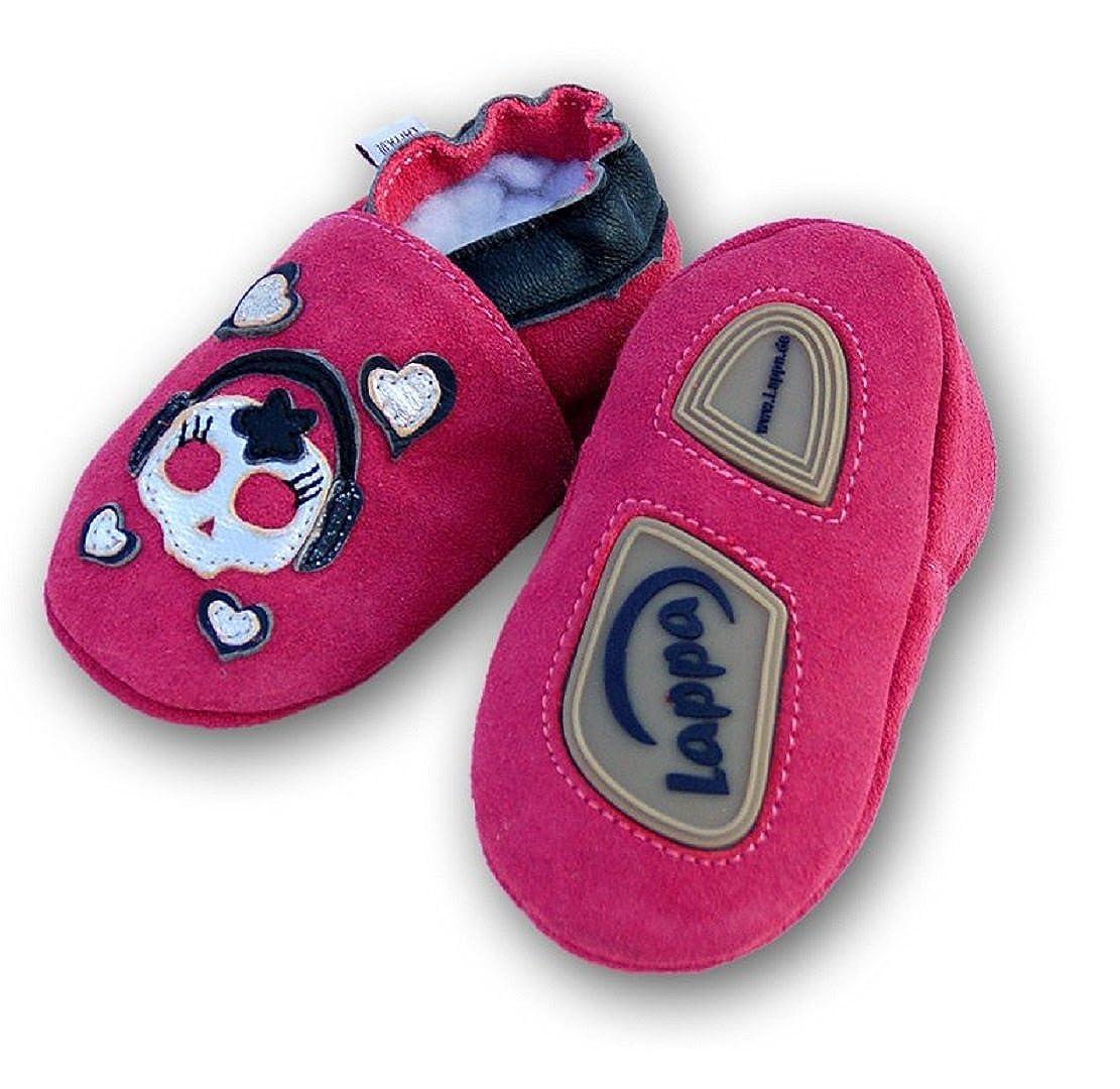 Chaussures premiers pas Pousser En Cuir Pantoufles Sandales Chaussons bébé -avec Gummisohle- Gr.19-31 (Geckos beige Cuir daim 241G)