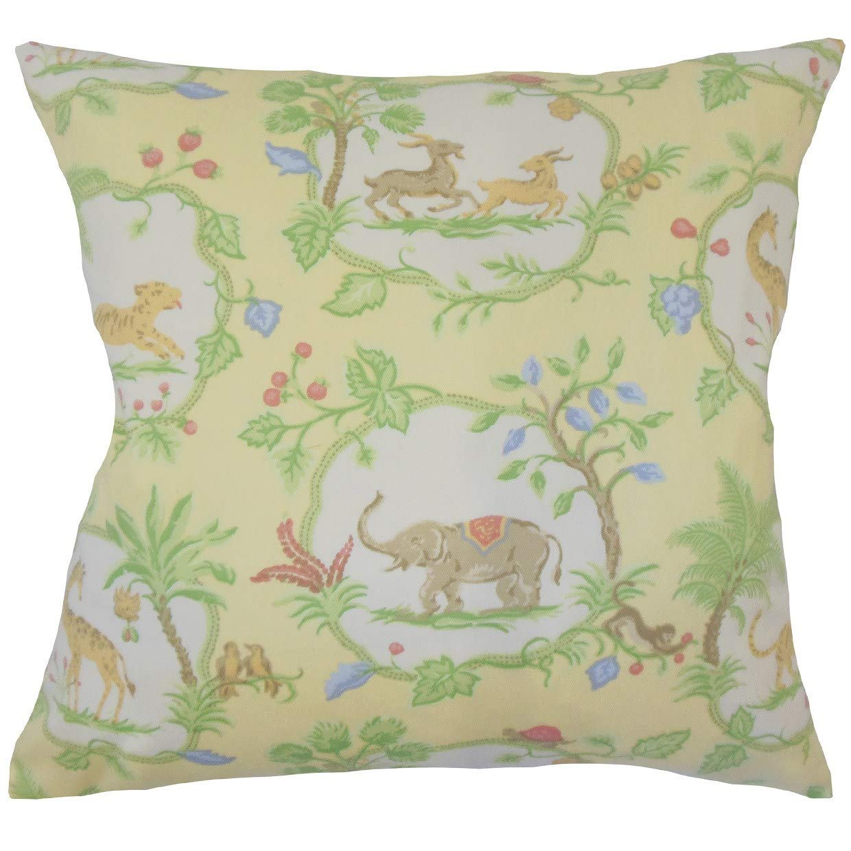 The Pillow Collection Gerlinde Floral Yellow Down Filled Throw Pillow