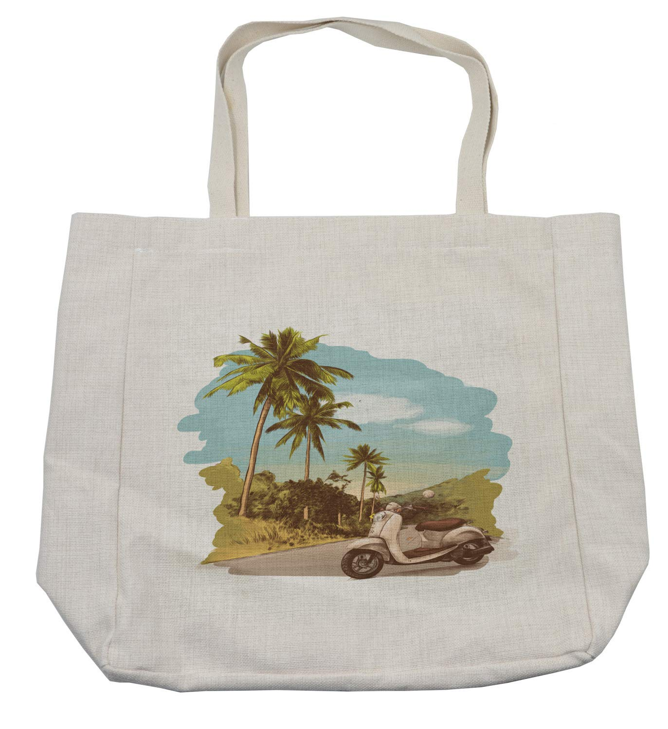 Ambesonne Retro Shopping Bag, Faded Effect Vintage Scooter Stands on the Road Jungle with Palm Trees on the Edges, Eco-Friendly Reusable Bag for Groceries Beach and More, 15.5'' X 14.5'', Cream by Ambesonne