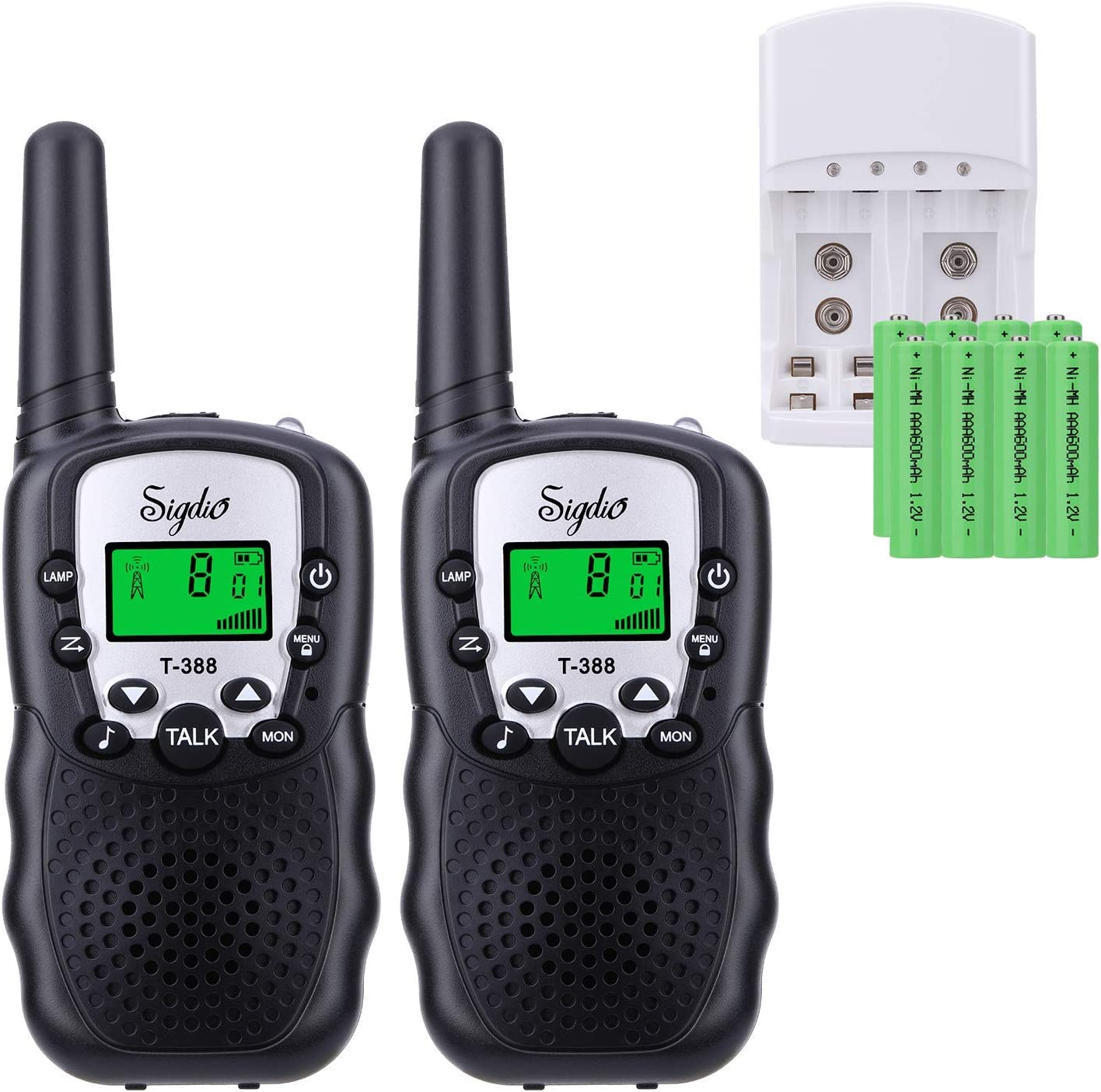 Sigdio Kids Walkie Talkies Rechargeable Walky Talky 22CH FRS 2 Way Radio Kids Toy with Multi-Charger Rechargeable Batteries VOX and Torch (Black, 8 rechargeable batteries)