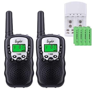 Sigdio Walkie Talkie Niños PMR 446 Walky Talky con 8 Piezas Batería Recargable y Cargador Función VOX 8 Canales 0,5 W pantalla LCD y Linterna ...