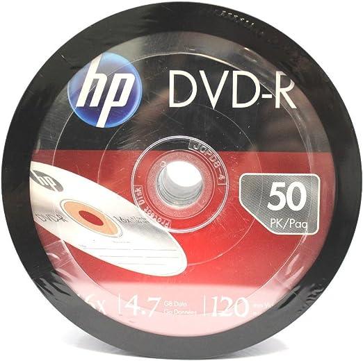 HP en Blanco DVD-R DVDR grabable Marca 16 x 4,7 GB Medios Disco DVD 1800- Pack: Amazon.es: Electrónica