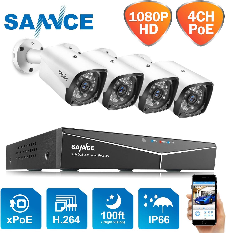 SANNCE Kit de Vigilancia Seguridad XPOE 1080P 4CH NVR y 4 IP Cámaras de Vigilancia 2MP IP66 Impermeable -sin Disco Duro, Visión Nocturna 30m Alerta de detección de Movimiento