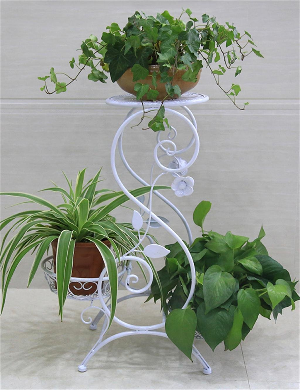 European - Style Floor 3 - Tier Eisen Blumentöpfe Regal Balkon Wohnzimmer Blumenregale Pflanze Stand Flower Pot Holder ( farbe : Weiß )