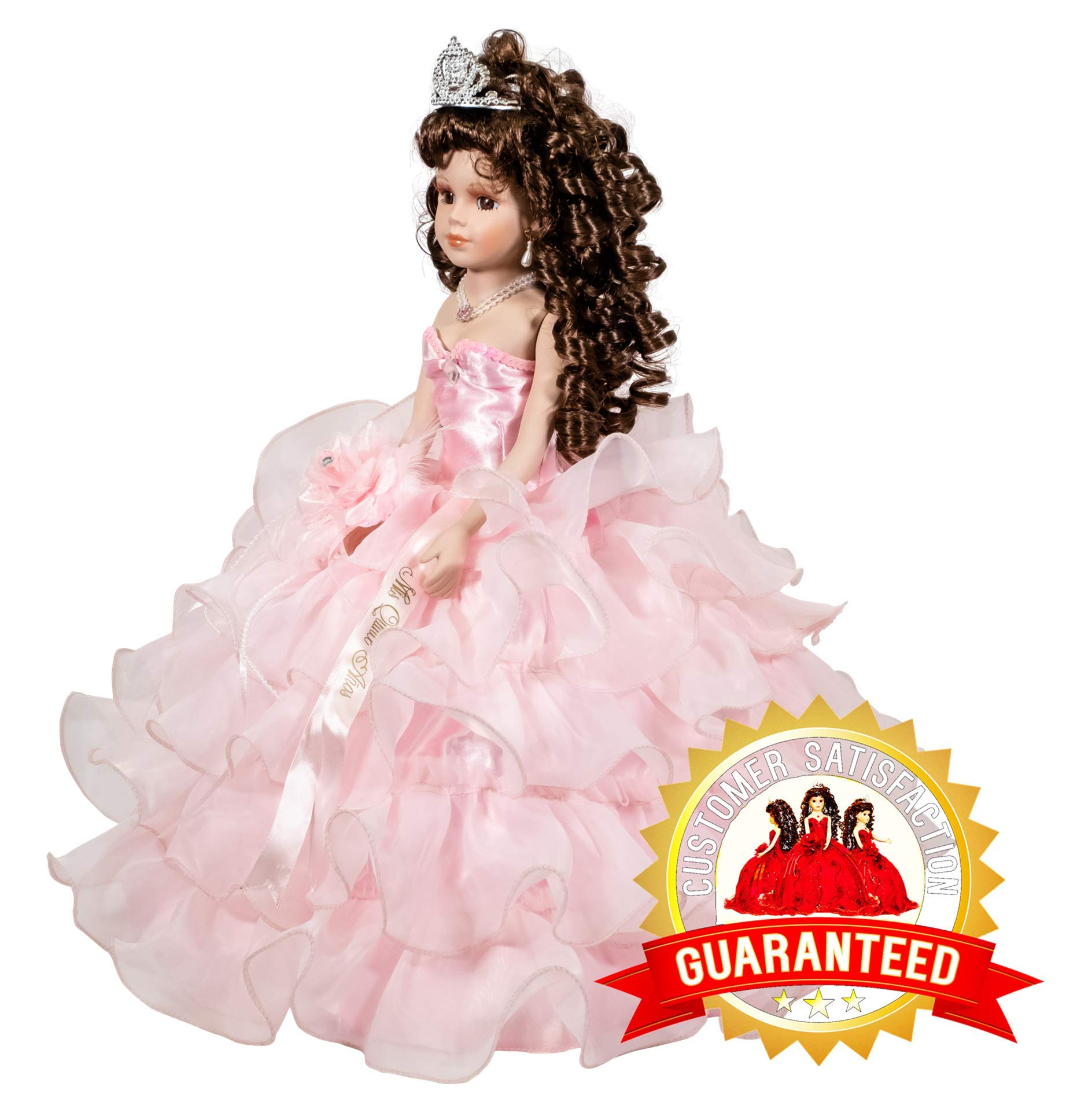 Kinnex Collections by Amanda 18'' Porcelain Quinceanera Umbrella Doll (Table Centerpiece) ~ Pink ~ KW18728-3