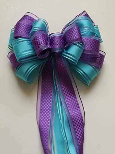 purple blue peacock wedding pew bow aqua blue orchid party decoration bow bridal shower decoration bows
