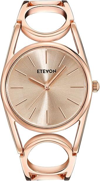 Amazon.com: Etevon Mujer Reloj de pulsera de oro rosa de ...