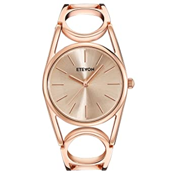 9bccbf87064e ETEVON Women s Quartz Rose Gold Wrist Watch with Simple Dial Style and Round  Hollow Bracelet Water Resistant