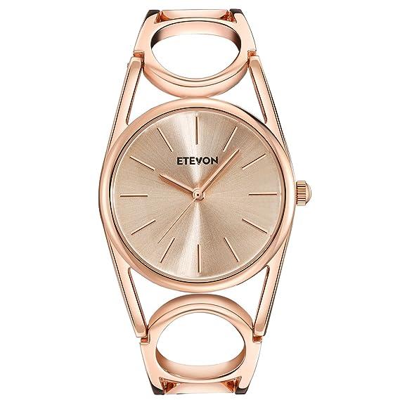 ETEVON Reloj de pulsera, cuarzo, para mujer, oro rosa, con pulsera redonda hueca de acero inoxidable, impermeable: Amazon.es: Relojes