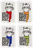 MIK Funshopping handvärmare fickvärmare set 4er-Set Katzen mit bunten Schals - Der Winter Kann Mich Mal