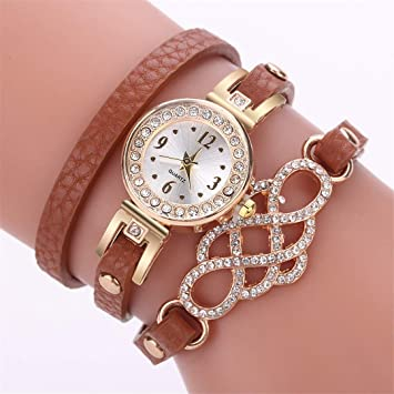 New Fashion Watches Women Popular Quartz Watch Bracelet Flower Gemstone Wristwatch Bayan Kol i Clock Brown