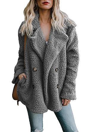 acheter en ligne b70d6 b5dca Femme Manteaux Automne Hiver Cardigan Manteau Chaud Furry Polaire Outwear  Chaud Veste Couleur Unie