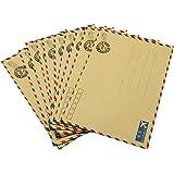 hybsk (TM) Lot de 10feuilles enveloppe Lettre Carte postale Papeterie Papier Avion de rangement vintage peau