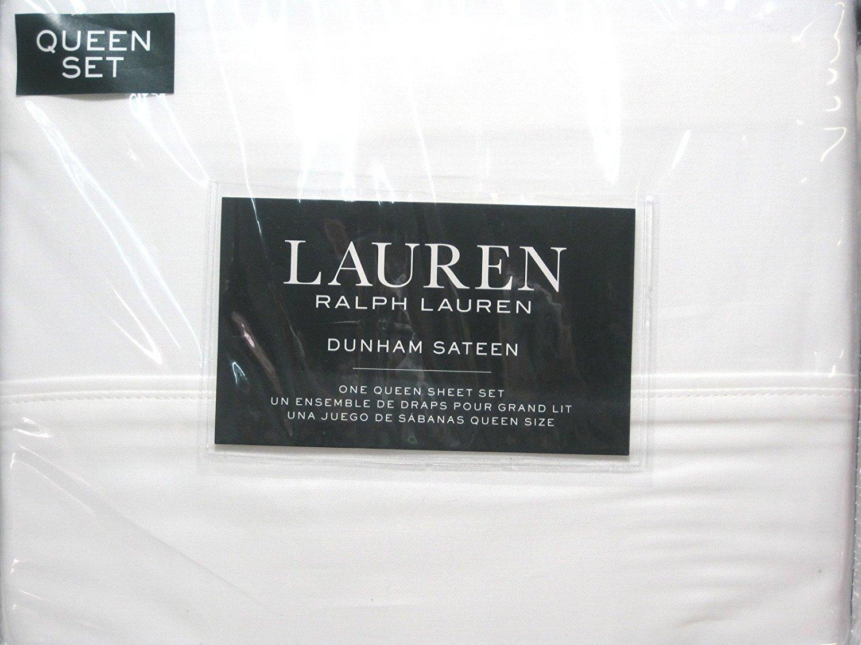 Lauren Ralph Lauren Queen Size Dunham Sateen 4 Piece Sheet Set 100% Cotton - White