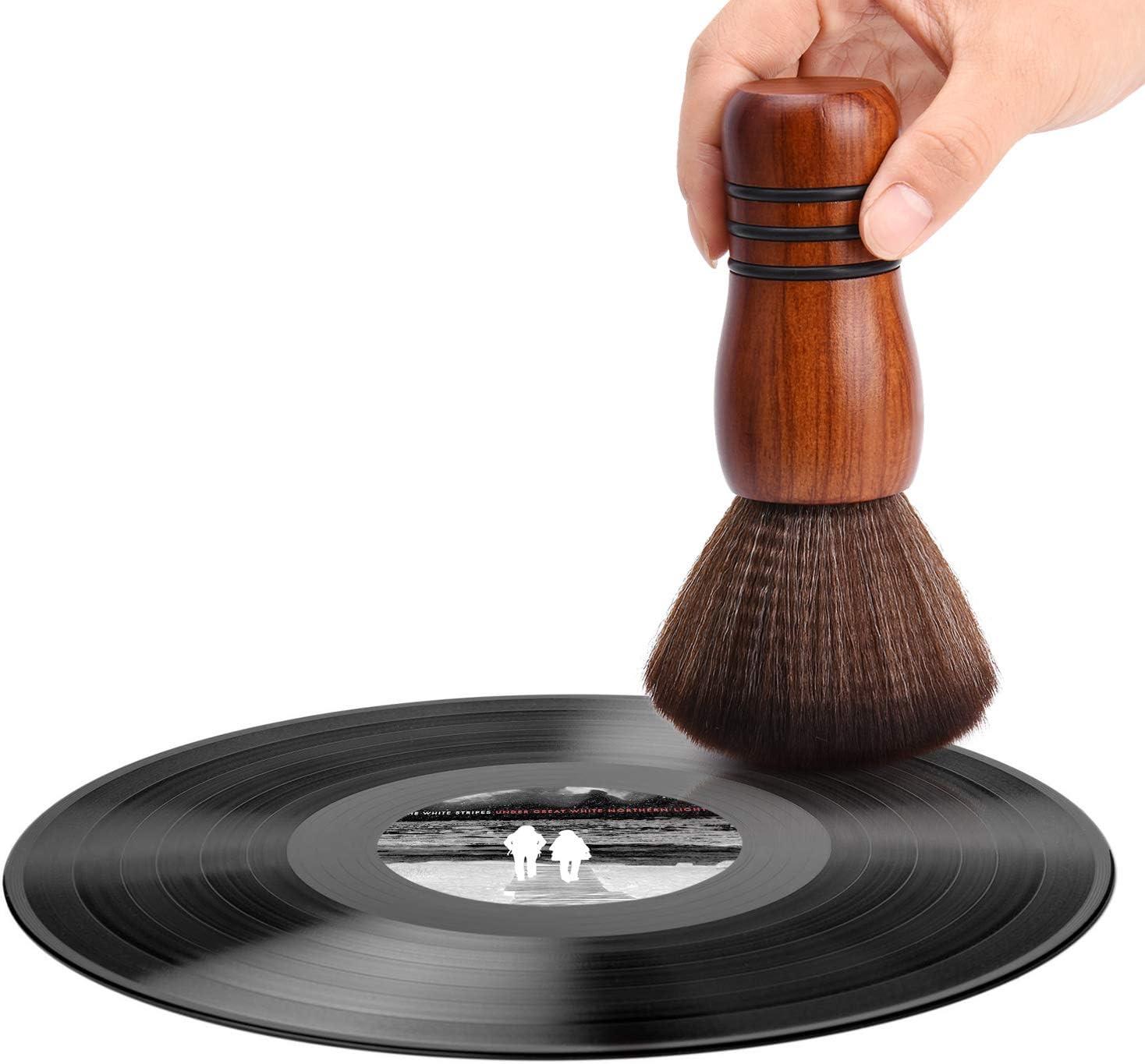 YOKING Brosse pour Disque en Bois Massif Brosse pour Tampon Nettoyant pour Disque Vinyle LP Antistatique Collecteur De Poussi/ère pour Stylet Audio