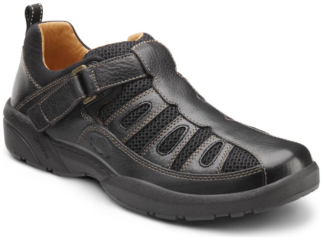 Dr. Comfort Fisherman Men's Therapeutic Diabetic Extra Depth Sandal: Black 11.5 Wide (E/2E) Velcro