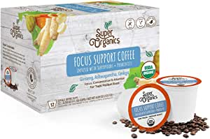 Super Organics Focus Support Coffee Brew Cups with Superfoods & Probiotics | Keurig K-Cup Compatible | Focus and Adaptogens | Medium Roast, USDA Certified, Vegan, Non-GMO & Fair Trade Coffee, 12ct