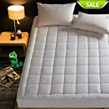 INGALIK Hotel Luxury Collection Quilted Fitted Mattress Topper Down Alternative Overfilled Mattress Pad Bed Cover Stretches up to 21 Inches Deep by (Queen 60x80x18inch)