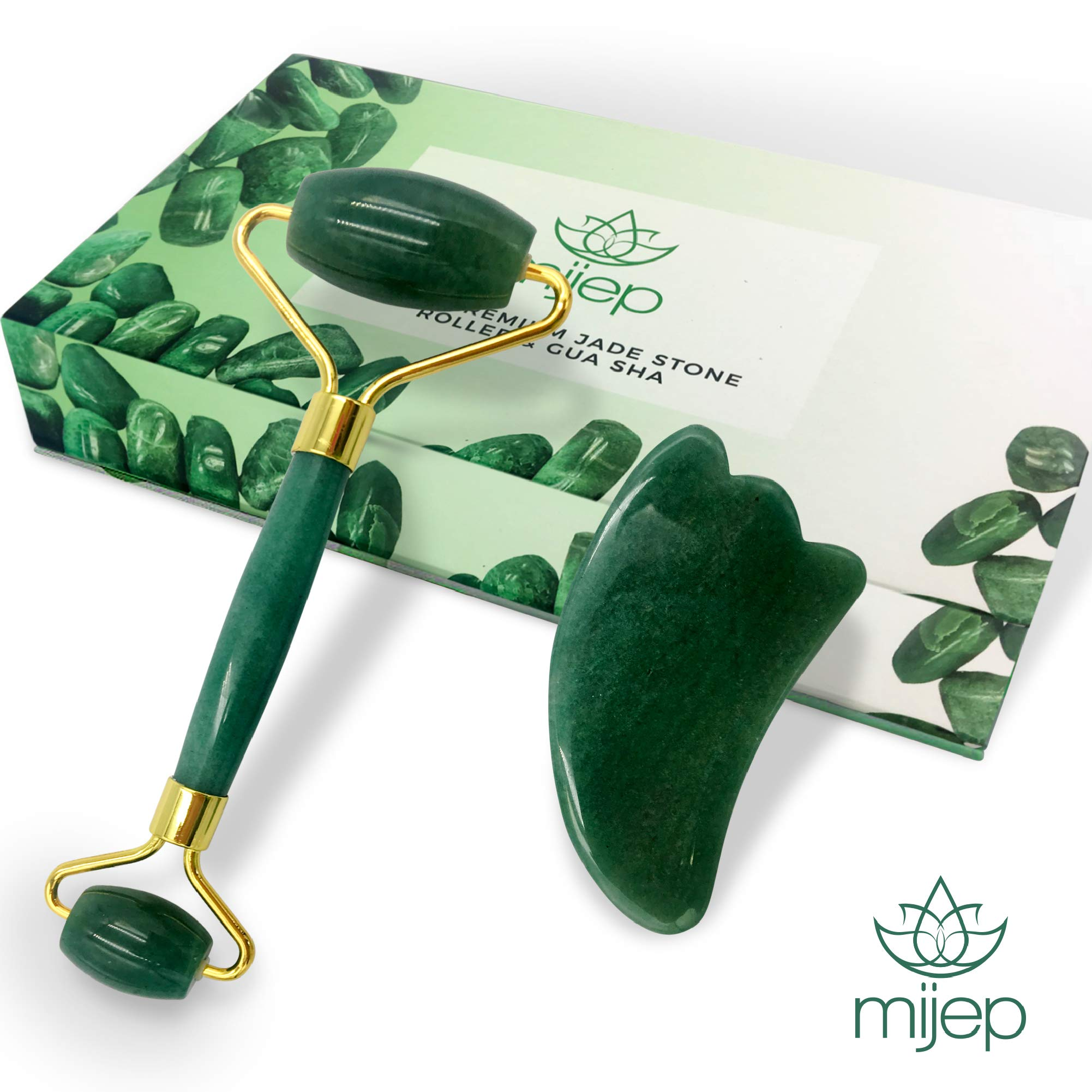 Jade Roller for Face Real Jade 100% Jade - Premium Quality Jade Roller for Face and Jade Gua Sha. Stunning Box Set perfect for Gift.