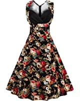 Wenyujh Women Vintage Floral Dress 1950s Retro Cap Sleeveless Cocktail Party Swing Dress