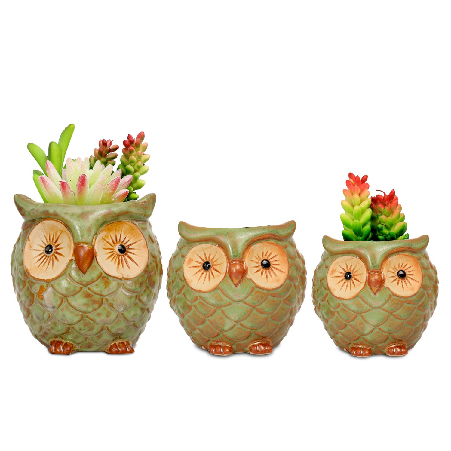 ROSE CREATE 3pcs 3in / 4in / 4.5in Owl Flower Pots by ROSE CREATE (Image #5)