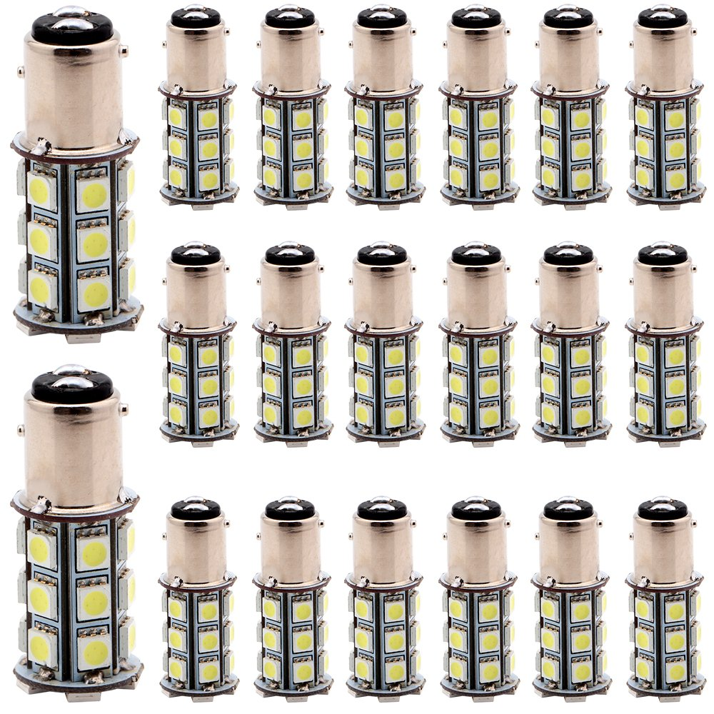 EverBright 20-Pack Extremely Bright White 1156 BA15S 1141 1073 1095 1003 7506 24-SMD LED Car Replacement Interior RV Camper Rear Turn Signal, Back Up , Parking Side Marker Light Bulb DC 12V
