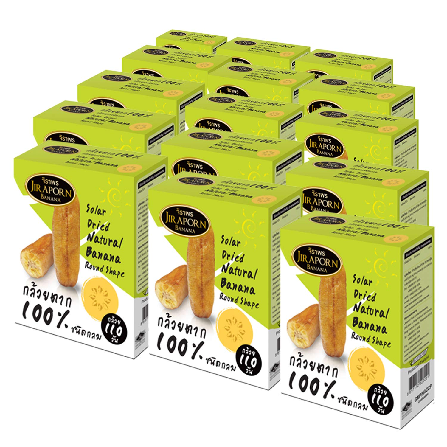 WHOLESALE Jiraporn Solar Dried Natural Banana Round Shape 240g (Pack of 16)