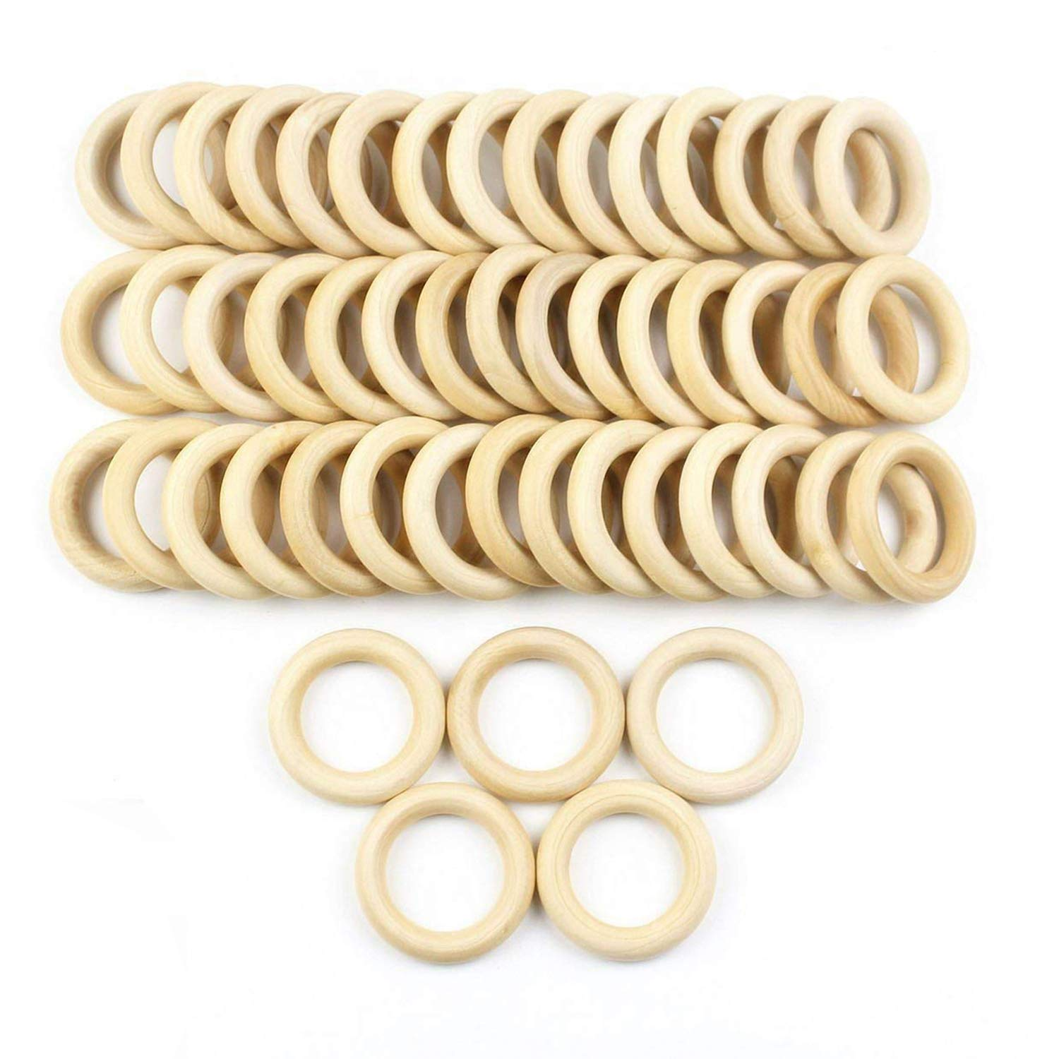 JPSOR 50 Pcs 2.2'' Natural Wood Rings Circles Unfinished Wood for DIY Pendant Connectors Jewelry Making
